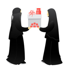 Muslim woman sisters give a gift to each other vector