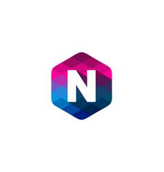 N hexagon pixel letter shadow logo icon design vector