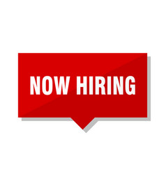 Now hiring red tag vector