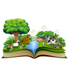 Open book with animal farm playing in the park vector