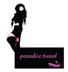 paradise travel with girl and airplane vector image