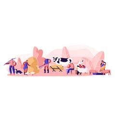 People doing farming job feeding domestic animals vector
