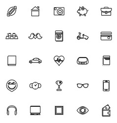 Personal data line icons on white background vector