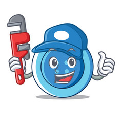 Plumber clothing button character cartoon vector