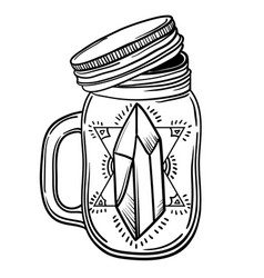 Print with a beautiful jar of crystal and diamond vector