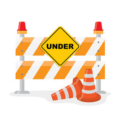Road barrier with and traffic cone vector