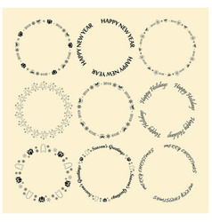 Round decorative frames for christmas vector
