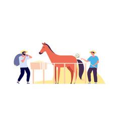 rural life farmers harvest hay flat horse corral vector image