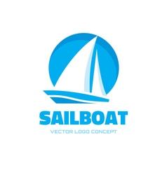 Sailboat - logo concept vector