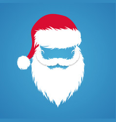 santa claus hat and beard new year design vector image