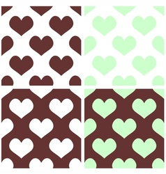 Seamless pastel hearts tile background set vector image
