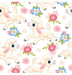 Seamless pattern lambs on white background vector