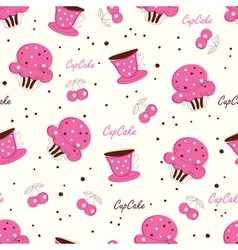 Seamless pattern with doodle cupcakes vector