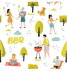 seamless pattern with people on bbq party vector image