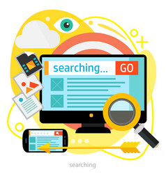 searching concept trendy bright ameoba vector image