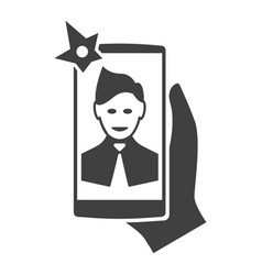 selfi on the smartphone modern icon vector image