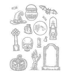Set for halloween party vintage engraving vector