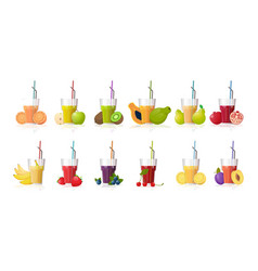 set glasses fresh juice with straw sliced vector image