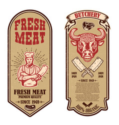 set meat store butcher shop flyers design vector image