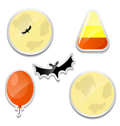 Set of Halloween stickers Moon Candy corn bat vector