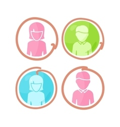 Set of People Characters Color Pictograms vector