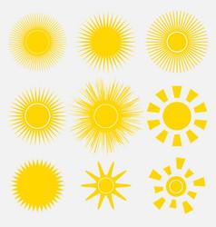 set of simple yellow orange sun vector image