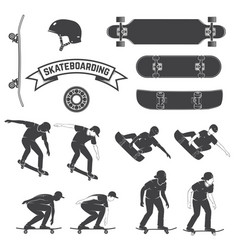 set skateboard and skateboarders icon vector image