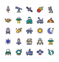 Set space icons with outline color style vector