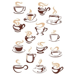 Set steaming hot cups coffee vector