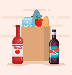 Shopping bag with products vector