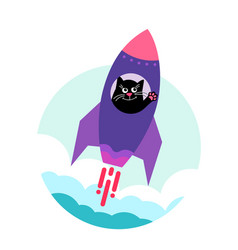 Space cat happy cute cat takes off on a vector