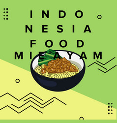 Square banner indonesia food mie ayam vector