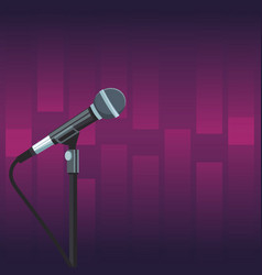 Stage microphone over purple background vector