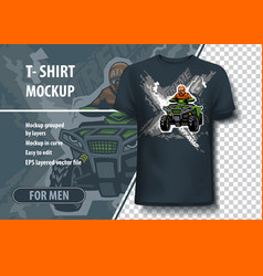 T-shirt mock-up template with xtreme atv quadbike vector