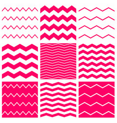 tile pattern set with white and pink zig zag vector image