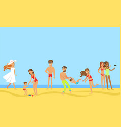 tourists on summer vacation set happy people vector image