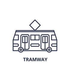 tramway line icon concept tramway linear vector image