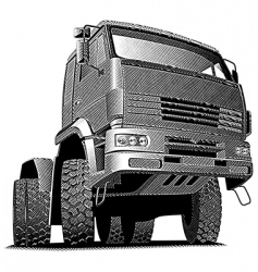Truck engraving vector