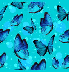 turquise butterflies and blue bubbles vector image