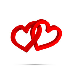 two bright red crossed heart shaped rings on white vector image
