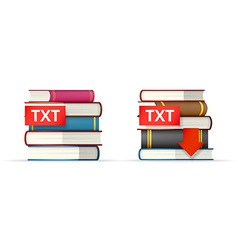 TXT books stacks icons vector image
