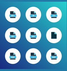 types icons colored set with file mkv file bmp vector image