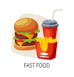 Unhealthy food for brain fast food burger vector