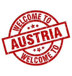 Welcome to austria red stamp vector