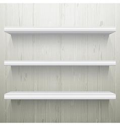 White wood background shelves vector image