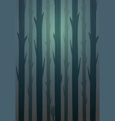 Winter landscape forest of logs and wolf hiding vector