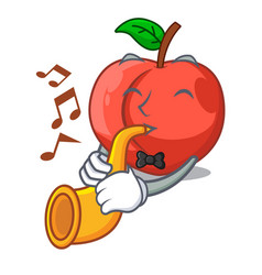 With trumpet cartoon fresh sweet nectarines in the vector