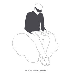 young man reading sitting on a cloud outlines vector image