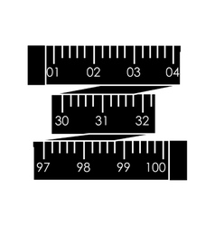 black silhouette tape measure in inches vector image