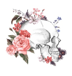 Roses and Skull Day of The Dead vector image